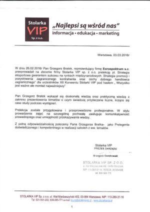 STOLARKA VIP szkolenia eksportowe opinia1