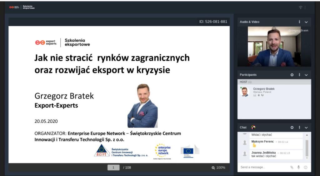 """WEBINAR """"Jak nie stracić rynków zagranicznych oraz rozwijać eksport w kryzysie"""", 20.05.2020 r., Kielce"""